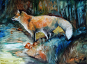 Painting--Oil-AnimalsRED FOX II