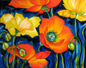Painting--Oil-AbstractPOPPIES by M BALDWIN