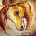 KING GOLDEN ~ EQUINE ART ORIGINAL (thumbnail)