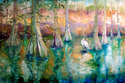 Painting--Oil-LandscapeCYPRESS & WHITE HERON