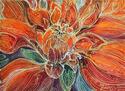 Painting--Watercolor-AbstractDAHLIA FLORAL BATIK ABSTRACT