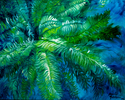 GREEN FERN ABSTRACT 30X24 ORIGINAL OIL (thumbnail)