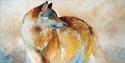 Painting--Oil-WildlifeLONE WOLF 36 ~ ORIGINAL OIL by M BALDWIN