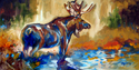 Painting--Oil-AnimalsMOOSE ~ 36x 18 ~ by M BALDWIN