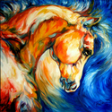 WILD WEST MUSTANG ABSTRACT by M BALDWIN (thumbnail)