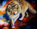 Painting--Oil-WildlifeSTEALTH WOLF ~ 30 X 24 by M BALDWIN