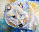 Painting--Oil-WildlifeWHITE WOLF WINTER by M BALDWIN