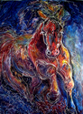 BATIK EQUINE ABSTRACT ~ POWERFUL by M BALDWIN (thumbnail)