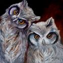 OWLS by M BALDWIN ~ 20x20 ORIGINAL OIL (thumbnail)