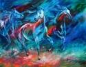 Painting--Oil-AbstractEQUUS MOONLIGHT RUN