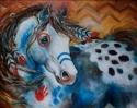 Painting--Oil-AnimalsAPPALOOSA INDIAN WAR HORSE