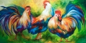 Painting--Oil-AnimalsROOSTERS THREE