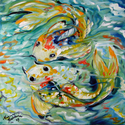 KOI by KOI ~  MINI ORIGINAL OIL by M BALDWIN (thumbnail)