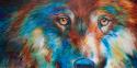 Painting--Oil-AnimalsDARK WOLF ABSTRACT