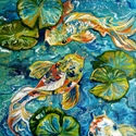 BLUE LAGOON KOI 3 ~ an Abstract by M Baldwin (thumbnail)