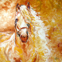 GOLDEN GRACE the ANDALUSIAN ~ EQUINE ORIGINAL by M BALDWIN (thumbnail)