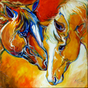 CONCERNED ~ EQUINE ART by M BALDWIN (thumbnail)