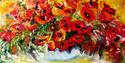 Painting--Oil-FloralORIGINAL POPPY ART by M BALDWIN 20X10 OIL
