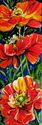 POPPIES TRIPLE by M BALDWIN a FLORAL ABSTRACT in RED (thumbnail)