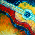 ABSTRACT GUITAR 2020 ORIGINAL OIL PAINTING MUSIC by M BALDWIN (thumbnail)