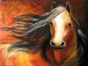 BAY MUSTANG STALLION EQUINE ART ORIGINAL OIL PAINTING by M BALDWIN 18X24 (thumbnail)