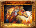Painting--Oil-AnimalsINDIAN WAR HORSE GOLDEN SUN