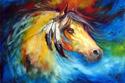 Painting--Oil-AnimalsBLUE THUNDER WAR PONY