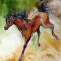 BRONCO BUCKING an Original Oil Painting 16 x 16 by M BALDWIN (thumbnail)