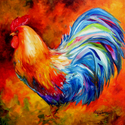 SPLASH of COLOR Rooster ORIGINAL OIL PAINTING 18x18 by M BALDWIN (thumbnail)