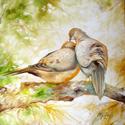 MORNING DOVES ~ Wildlife Art Original Oil Painting 18x18 by M BALDWIN (thumbnail)