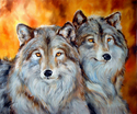 Painting-TWO WOLVES