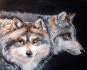 Painting--Oil-WildlifeWOLVES INTO THE NIGHT
