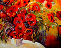 Painting--Oil-FloralPOPPY RED POPPY