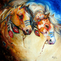 WARRIOR SPIRITS TWO an ORIGINAL OIL PAINTING 30x30 by MARCIA BALDWIN (thumbnail)
