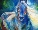 ABSTRACT BLUE EQUINE ORIGINAL OIL PAINTING 28 x 22 by MARCIA BALDWIN (thumbnail)
