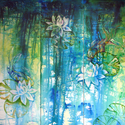 LILY POND & KOI ABSTRACT ~ BLUE ART ORIGINAL OIL PAINTING by MARCIA BALDWIN (thumbnail)