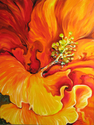 HIBISCUS FLAME ~ FLORAL ABSTRACT OIL PAINTING by MARCIA BALDWIN (thumbnail)