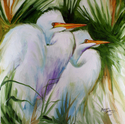 WHITE EGRET PAIR ABSTRACT original oil painting 20x20 by MARCIA BALDWIN (thumbnail)