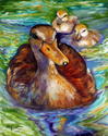 MALLARD MOM & DUCKLINGS 20 X 16 ORIGINAL OIL PAINTING by MARCIA BALDWIN (thumbnail)