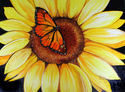 Painting--Oil-FloralSUNFLOWER & BUTTERFLY