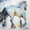 GYPSY VANNER MOTION ~ a painterly sketch in oils by MARCIA BALDWIN ~ FINE ART ORIGINALS (thumbnail)