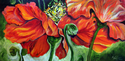 Painting--Oil-FloralTHE POPPIES a FLORAL ABSTRACT in RED