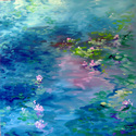 Waterlily Pond in BLUE ~ Daily painting (thumbnail)