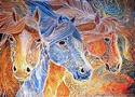 EQUUS TRIO ~ BATIK ON CANVAS (thumbnail)