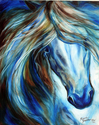 BLUE MANE EVENT EQUINE ABSTRACT ORIGINAL OIL PAINTING by MARCIA BALDWIN (thumbnail)