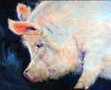 Painting--Oil-AnimalsMY PINK PIG ~ For Good Luck by M Baldwin