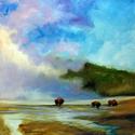 YELLOWSTONE BUFFALO LANDSCAPE ORIGINAL OIL PAINTING 20X20 by MARCIA BALDWIN (thumbnail)
