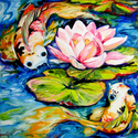 WATERLILY & 2 KOI by M BALDWIN (thumbnail)