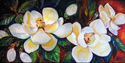 Painting--Oil-FloralSOUTHERN MAGNOLIAS by M BALDWIN