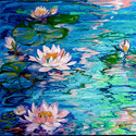 MISTY WATER WATERLILIES by M BALDWIN (thumbnail)